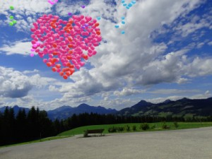 Balloons - heart shaped in sky