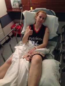 Kelsey after knee injury
