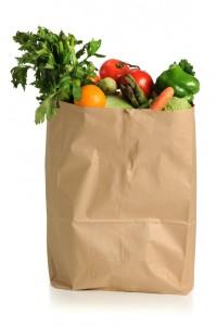 Vegetables in brown bag