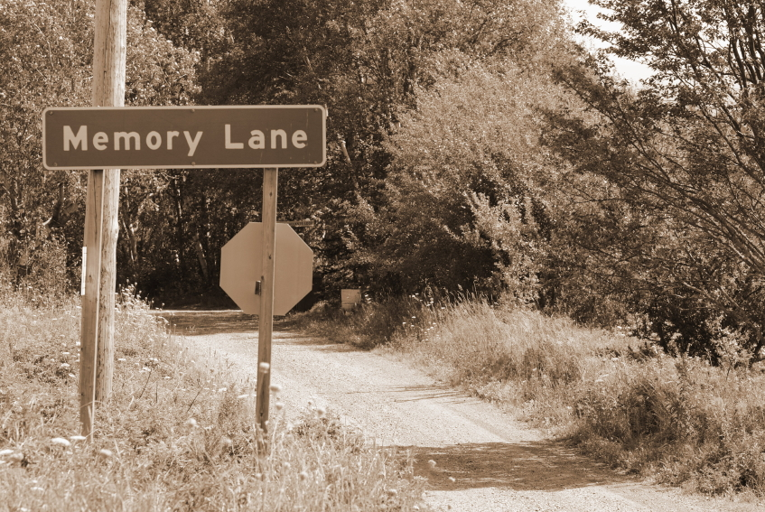 "Image showing road sign for ""Memory Lane"" from Gaye Lindfors' The Chicken Fat Song"